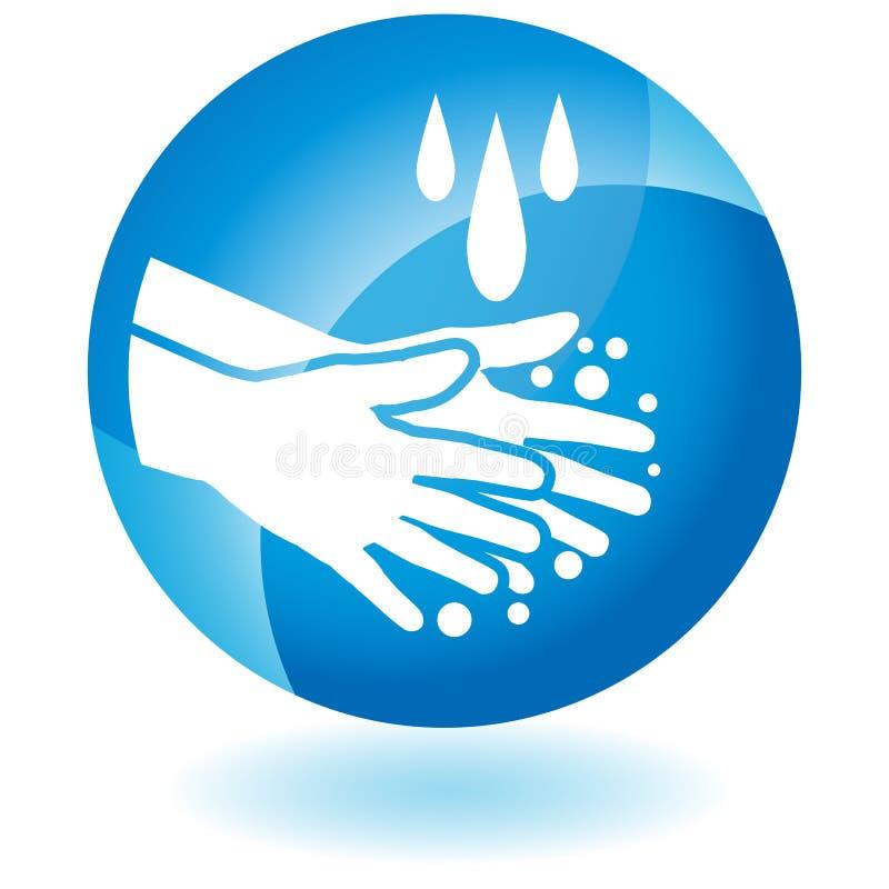 O sabão Handwashing Cleanng entrega o botão ilustração stock