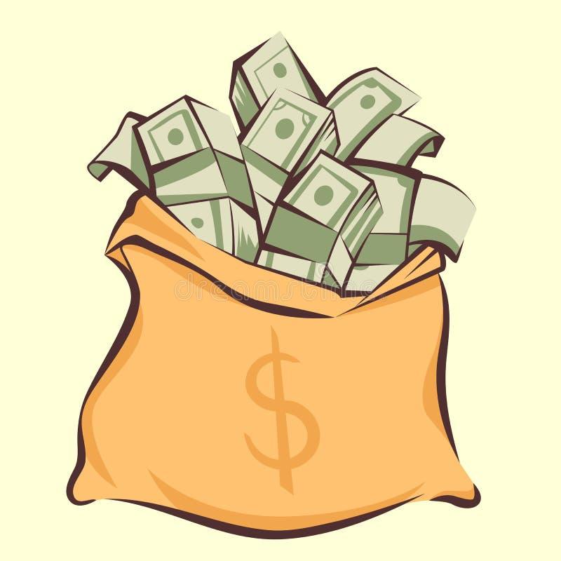 O saco com grupos dos dólares, estilo do dinheiro dos desenhos animados, isolou a ilustração do vetor ilustração stock