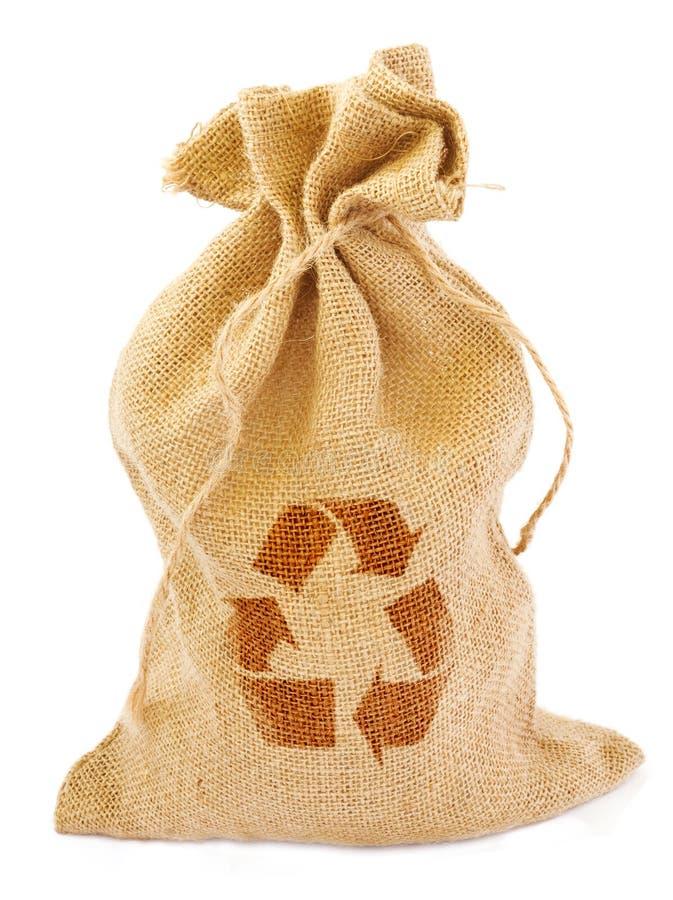 O saco com recicl o sinal foto de stock royalty free