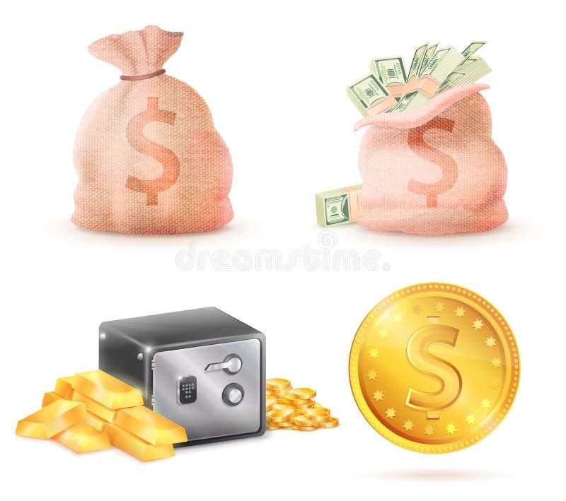 O saco completamente de dinheiro, Metal o Strongbox e o saco seguros ilustração royalty free