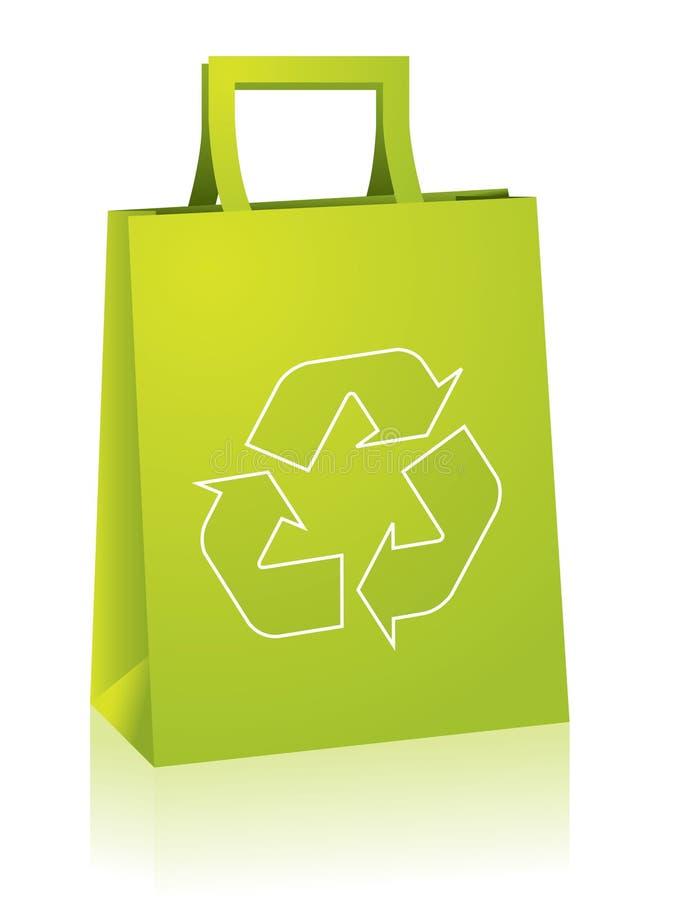 O saco de compra com recicl o sinal ilustração stock