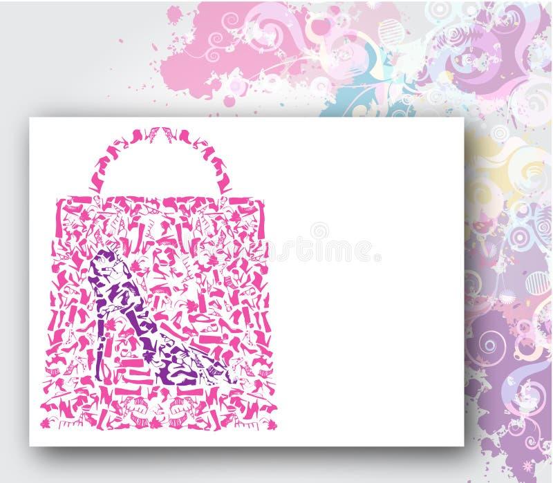 O saco de compra, forma calç o conceito ilustração stock