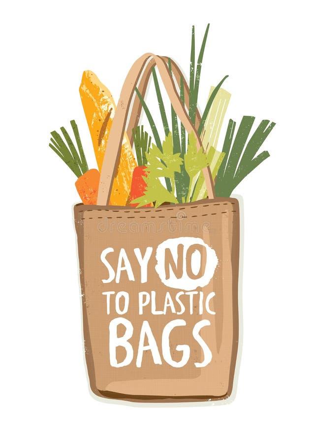 O saco de compras reusável amigável do eco de matéria têxtil completamente de vegetais e outros produtos com inscrição dizem não  ilustração do vetor