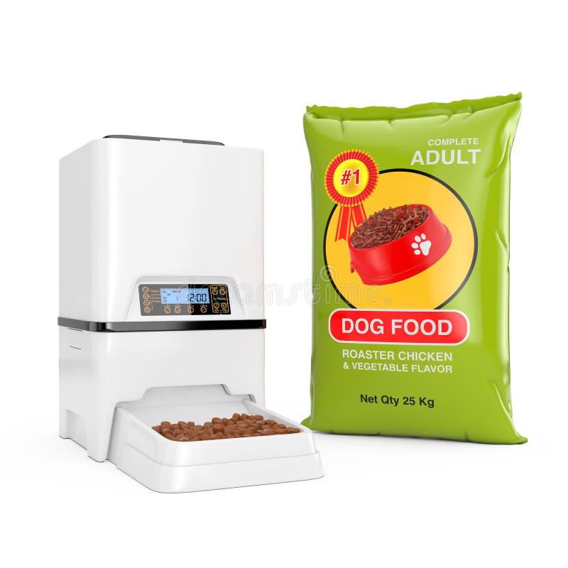 O saco do alimento para cães empacota o distribuidor seco do alimentador da refeição do armazenamento do alimento Digital do anim foto de stock