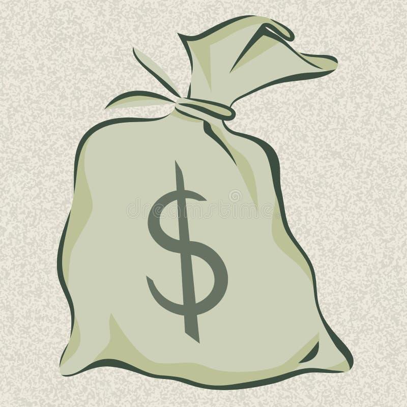 O saco do dinheiro com sinal de dólar, estilo dos desenhos animados, isolou a ilustração do vetor ilustração do vetor