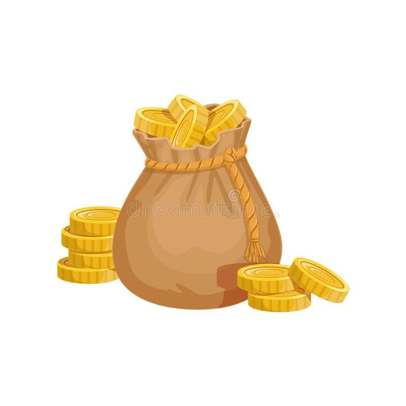 O saco pequeno com moedas douradas, o tesouro escondido e as riquezas para a recompensa no flash veio variação do projeto ilustração royalty free