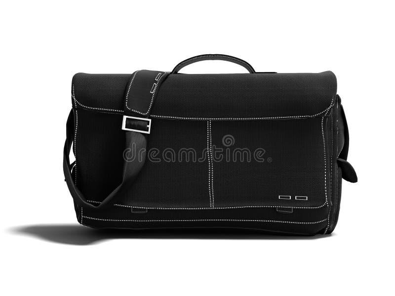 O saco preto moderno do portátil sobre o ombro 3D rende no fundo branco com sombra foto de stock