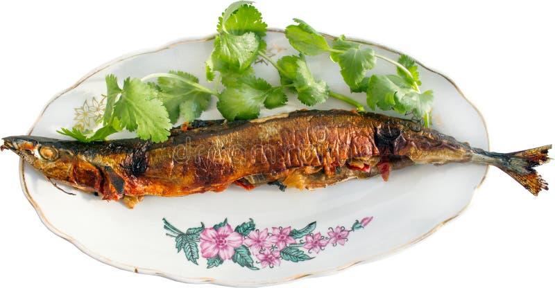 O saira roasted enchido com vegetais e verdes imagens de stock royalty free