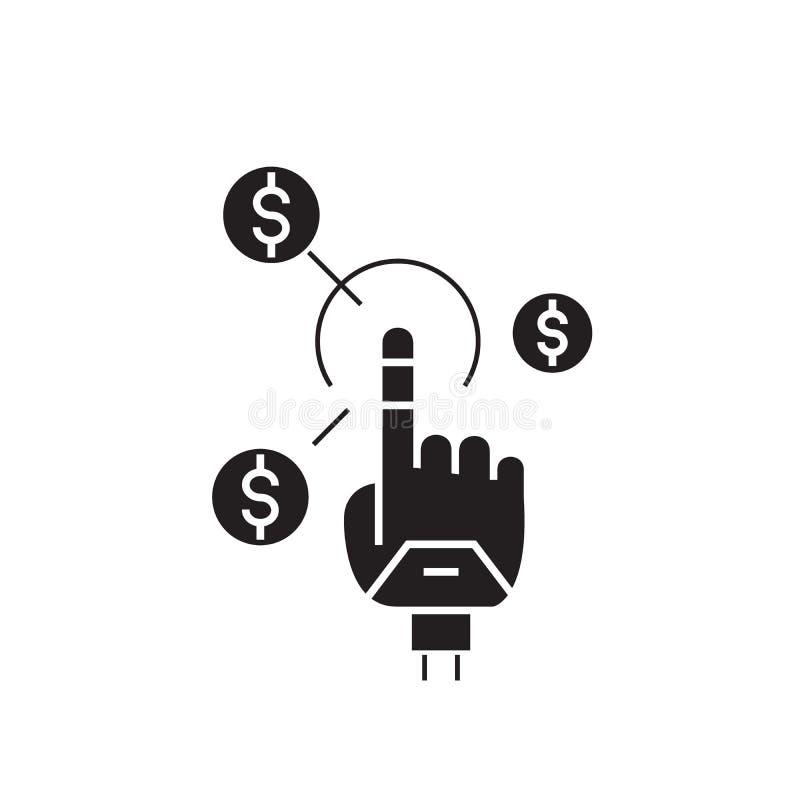 O salário simples enegrece o ícone do conceito do vetor Ilustração lisa do salário simples, sinal ilustração royalty free