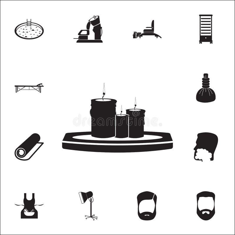 O salão de beleza dos termas candles o ícone do glyph Grupo detalhado de ícones do barbeiro Sinal superior do projeto gráfico da  ilustração stock