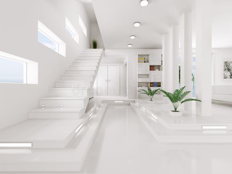 O salão de entrada branco 3d interior rende ilustração stock