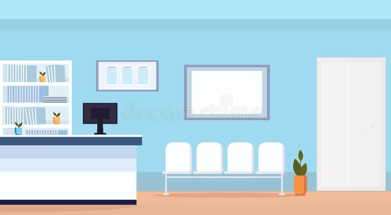 O salão de espera da recepção do hospital com assentos não esvazia nenhum plano horizontal interior da clínica médica dos povos ilustração stock