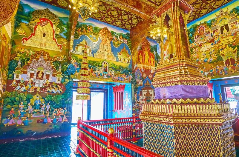 O salão do Sao Inthakin, Wat Chedi Luang, Chiang Mai, Tailândia imagens de stock