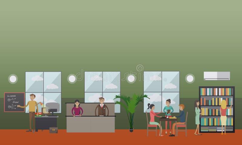 O salão e a biblioteca de leitura da universidade vector a ilustração no estilo liso ilustração royalty free