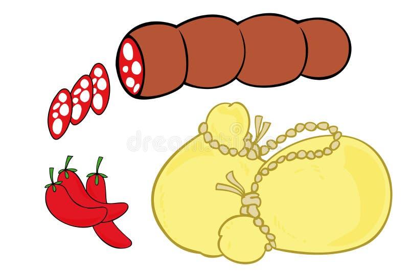 O Salami, a pimenta quente e o scamorza fumaram o queijo. ilustração do vetor