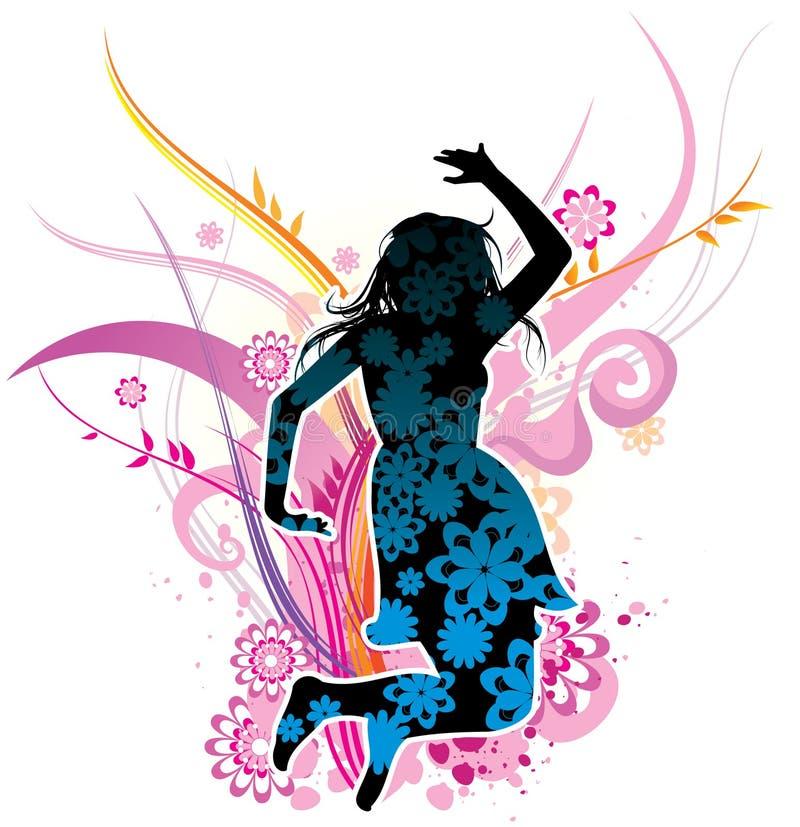 O salto da menina ilustração stock
