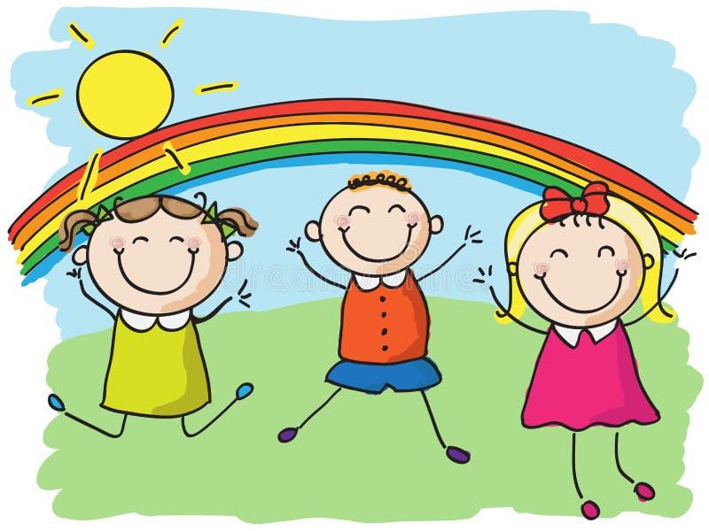 O salto das crianças ilustração do vetor