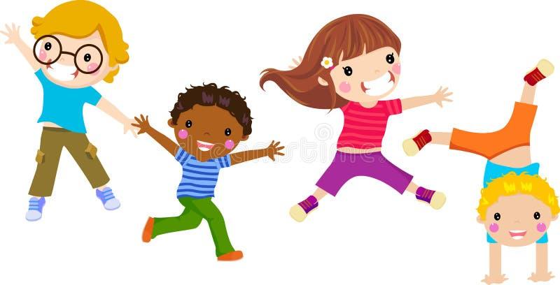 O salto dos miúdos ilustração do vetor