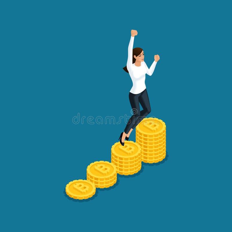 O salto isométrico da mulher de negócio exulta a mineração grande do cryptocurrency do blockchain do ico do lucro, projeto startu ilustração stock
