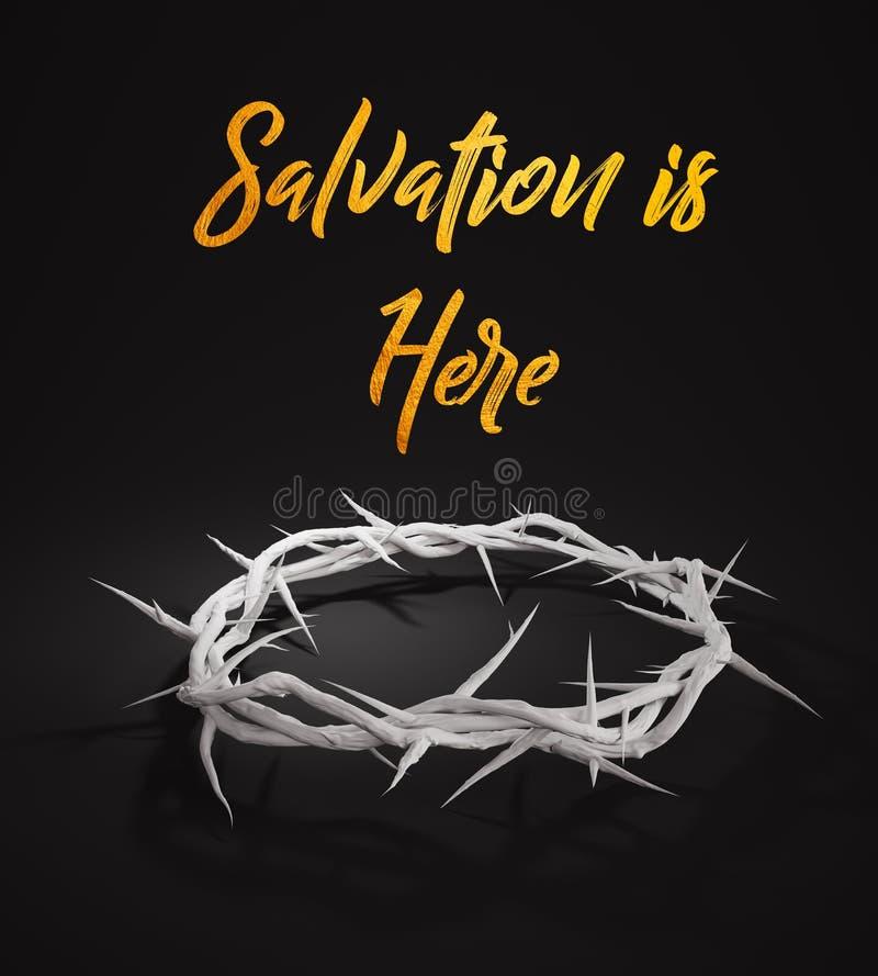 O salvação está aqui coroa de espinhos 3D que rendem o fundo escuro ilustração stock