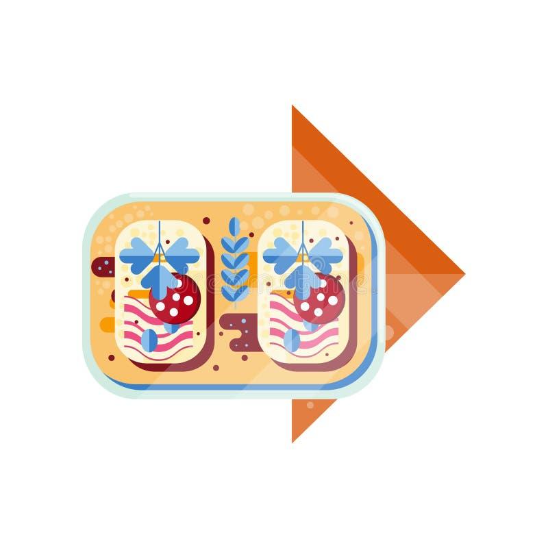 O sanduíche, o pão com salsicha e o presunto vector a ilustração em um fundo branco ilustração do vetor
