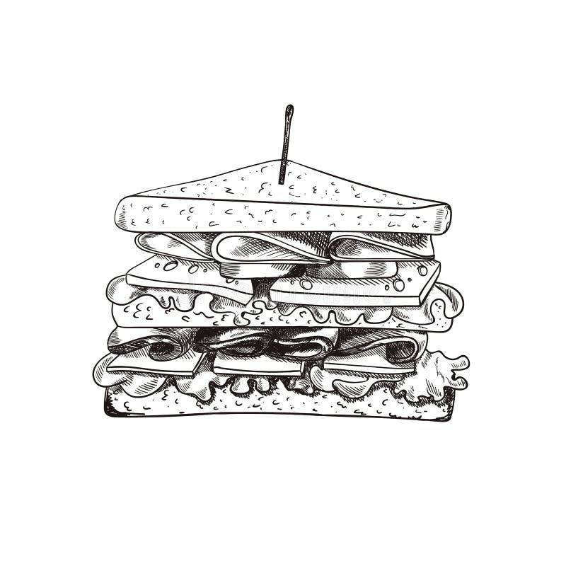 O sanduíche tirado mão do vetor com um Teethpick, rabisca o desenho a mão livre, alimento esboçado ilustração do vetor