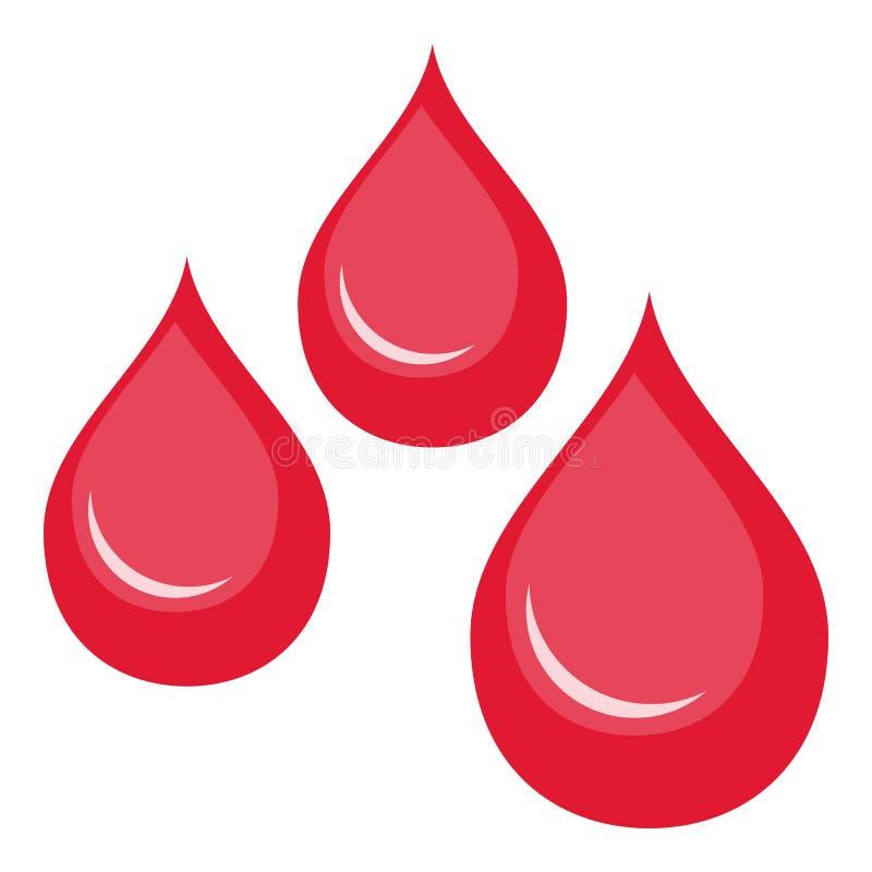 O sangue deixa cair o ícone liso isolado no branco ilustração royalty free