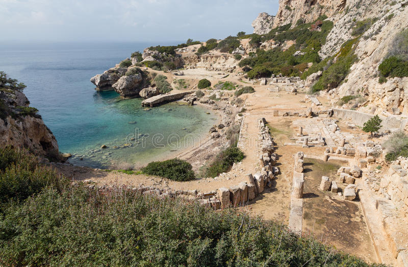 O santuário da deusa Hera em Perachora, Corinthia, Greece imagens de stock royalty free