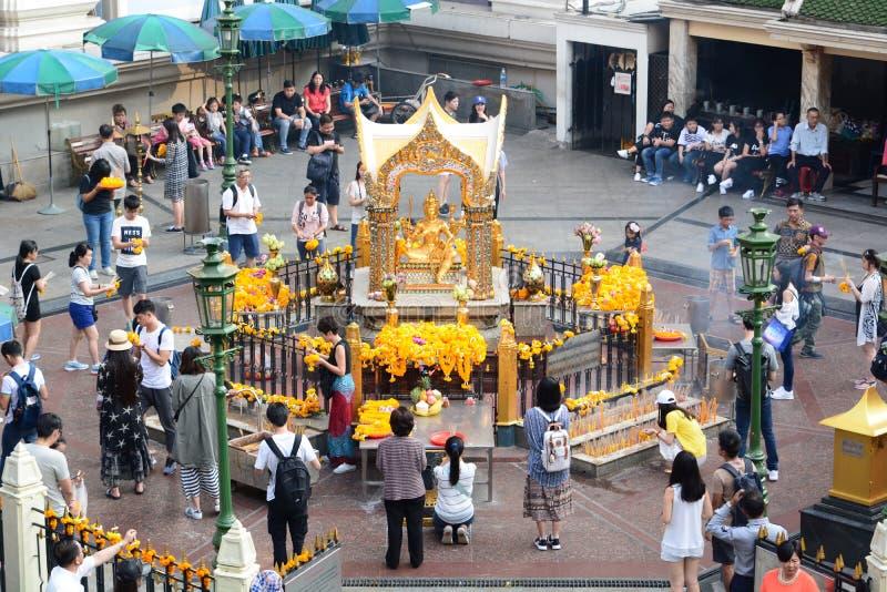 O santuário de Erawan banguecoque tailândia fotografia de stock royalty free