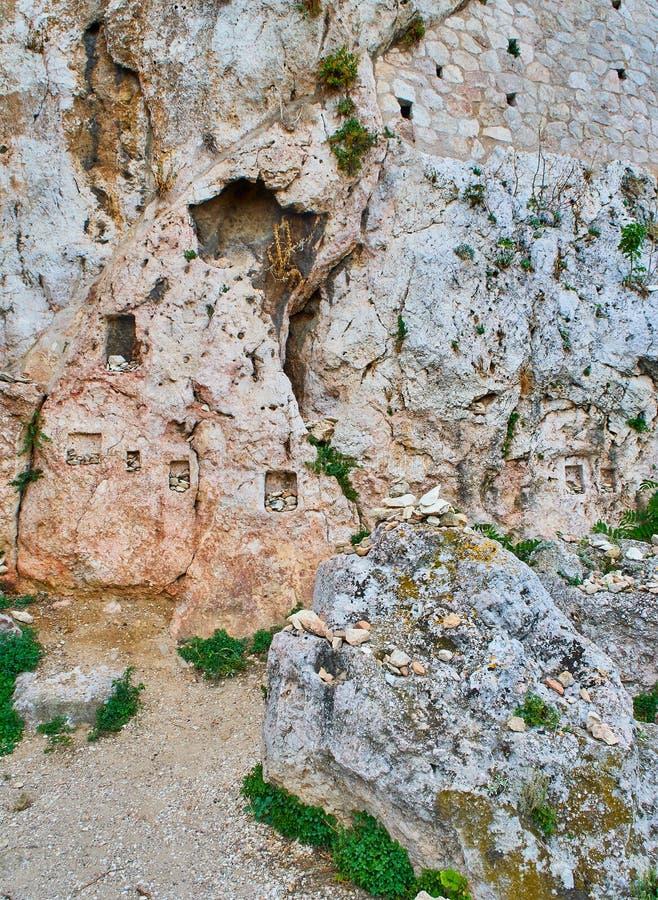 O santuário do Afrodite e do Eros Acrópole do Athenian da caminhada de Peripatos imagem de stock