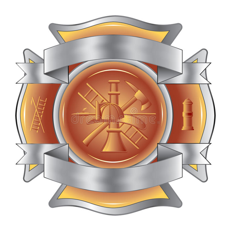 O sapador-bombeiro gravou a cruz com ferramentas ilustração royalty free