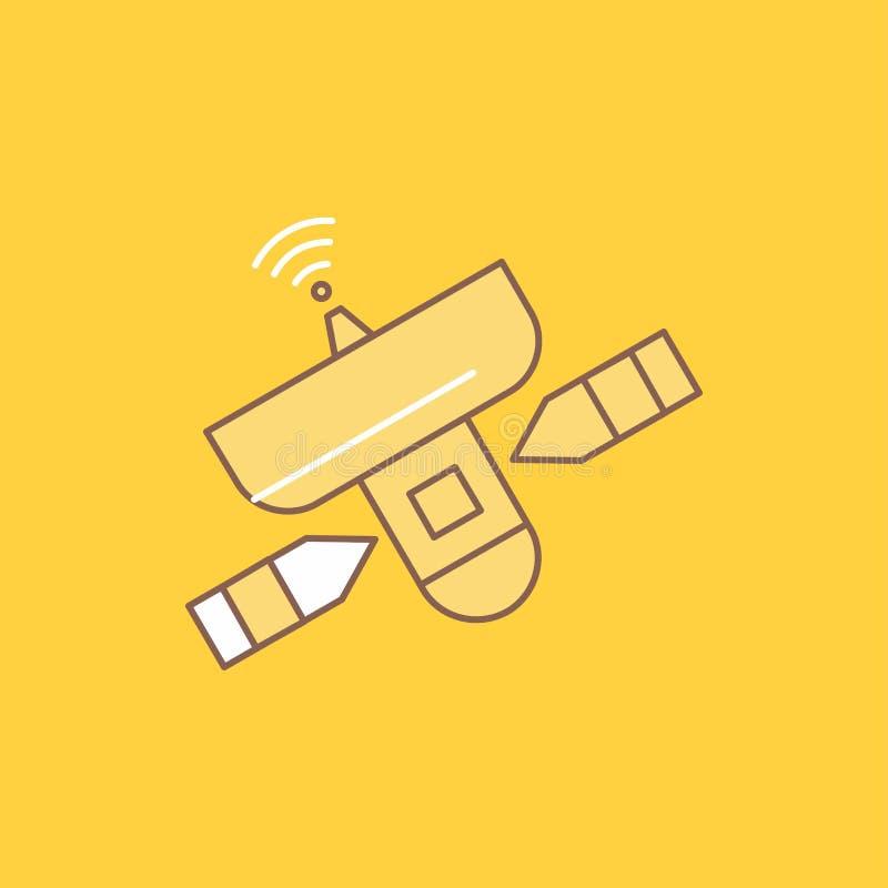 o satélite, antena, radar, espaço, linha lisa do sinal encheu o ícone Bot?o bonito do logotipo sobre o fundo amarelo para UI e UX ilustração stock