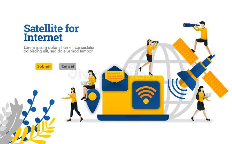 O satélite para coisas do Internet e do diário e o conceito digital da ilustração do vetor das necessidades do negócio podem ser  ilustração royalty free