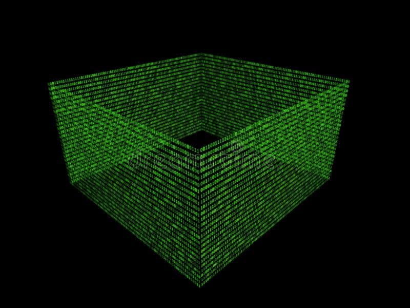 01 o scatola di numeri binari sullo schermo di computer sul codice di parola d'ordine del fondo della matrice del monitor, di dat illustrazione vettoriale