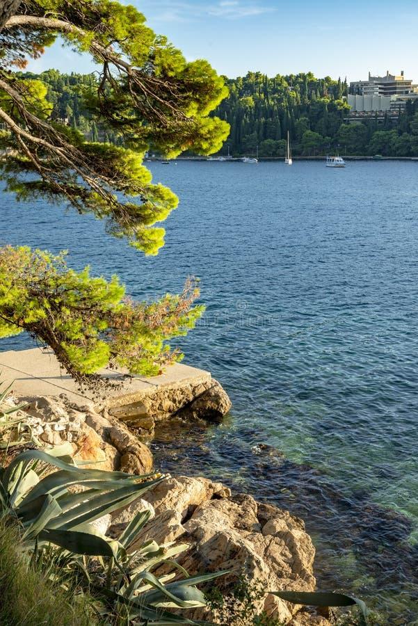 O seascape perto da cidade de Cavtat na Croácia fotografia de stock