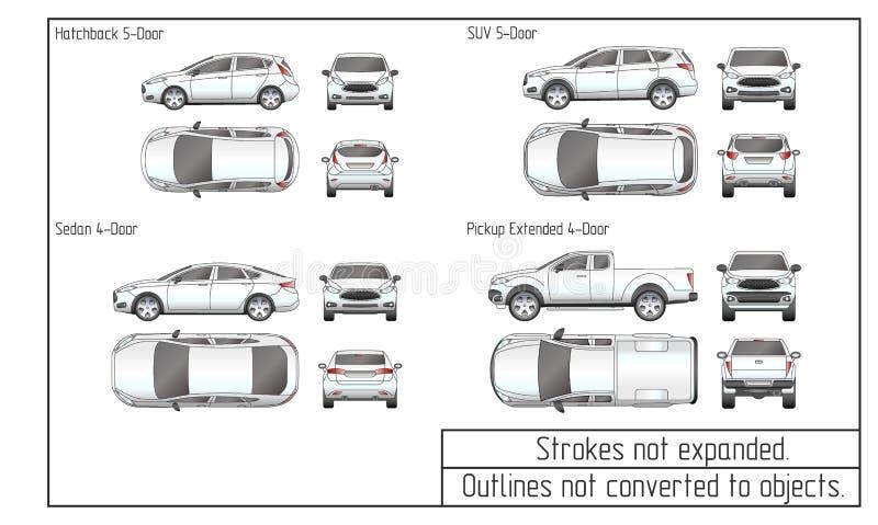 O sedan do carro e o desenho do suv esboçam não convertido aos objetos ilustração do vetor