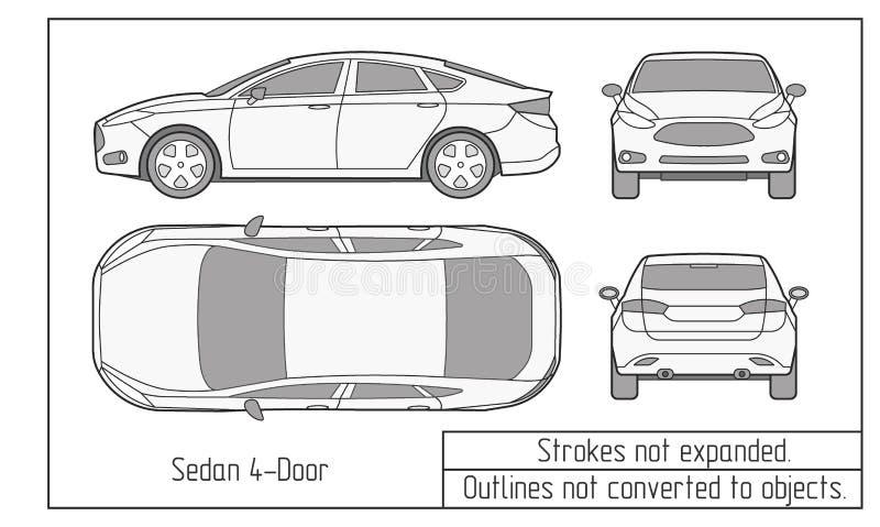 O sedan do carro e o desenho do suv esboçam não convertido aos objetos ilustração royalty free