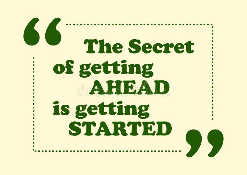 O segredo da obtenção adiante está obtendo citações inspiradas começadas ilustração royalty free