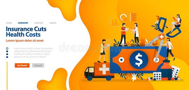O seguro corta custos da saúde dinheiro cortado com tesouras gigantes o conceito da ilustração do vetor pode ser uso para aterrar ilustração stock