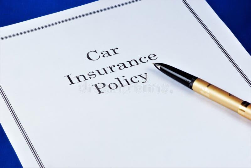 O seguro do carro, fornece o bem estar financeiro Proteção do seguro-seguro do carro de interesses da propriedade dos segurados a imagem de stock