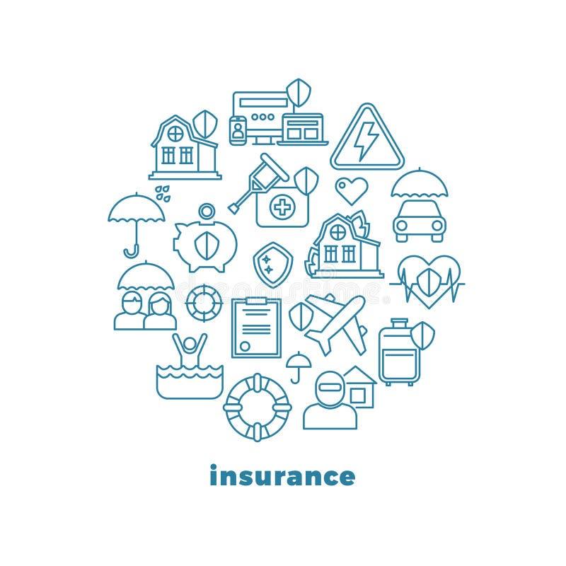 O seguro e a linha de propriedade home ícones do vetor no círculo projetam ilustração stock
