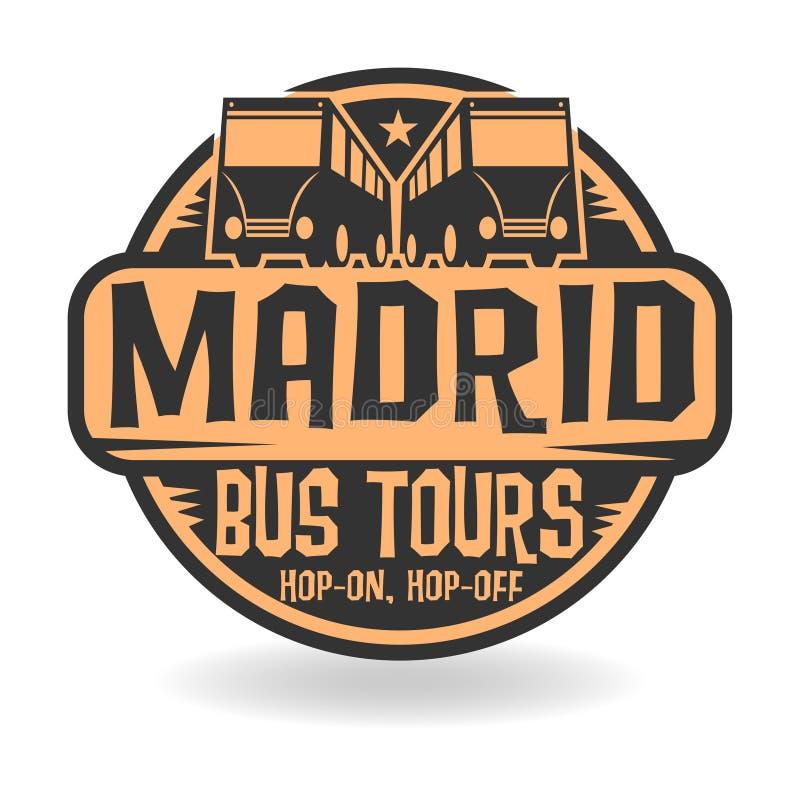 O selo abstrato com Madri do texto, ônibus visita ilustração do vetor