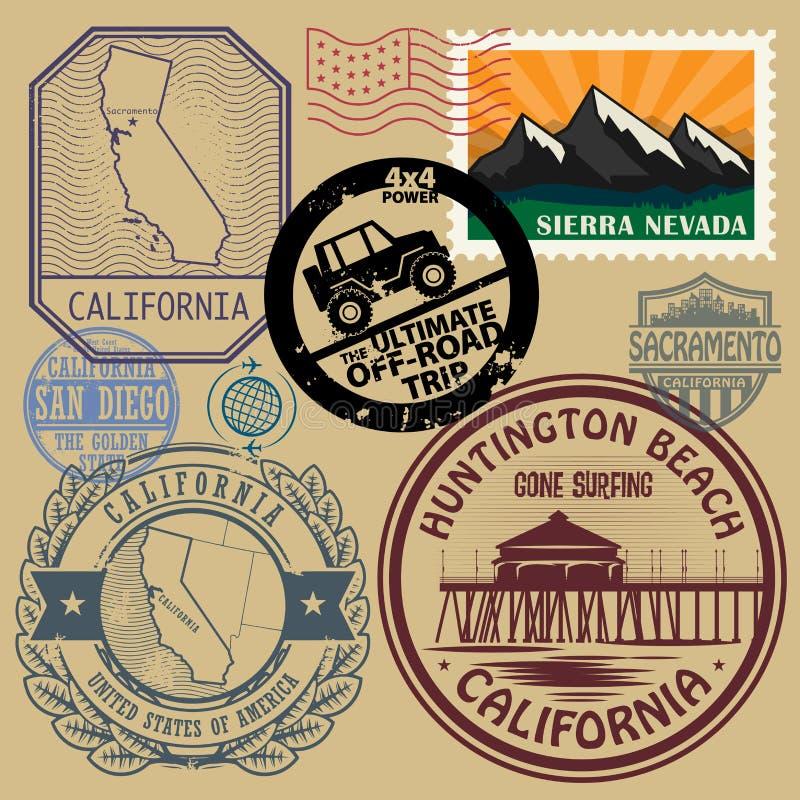 O selo ajustou-se com o nome e o mapa de Califórnia ilustração royalty free