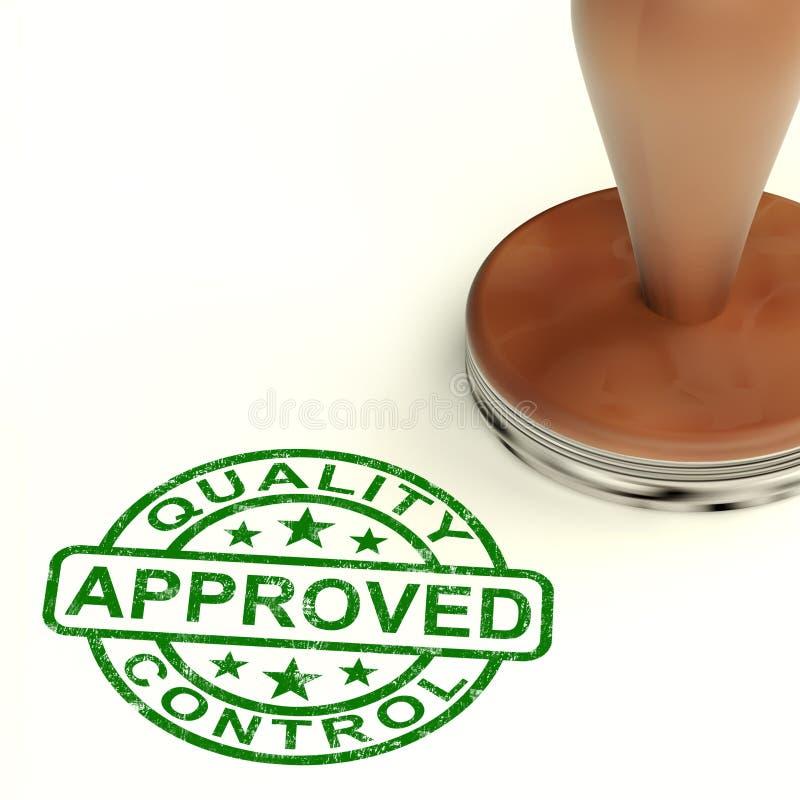 O selo aprovado controle da qualidade mostra produtos excelentes ilustração do vetor