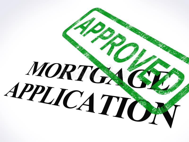 O selo aprovado da aplicação de hipoteca mostra o empréstimo hipotecario concordado ilustração royalty free