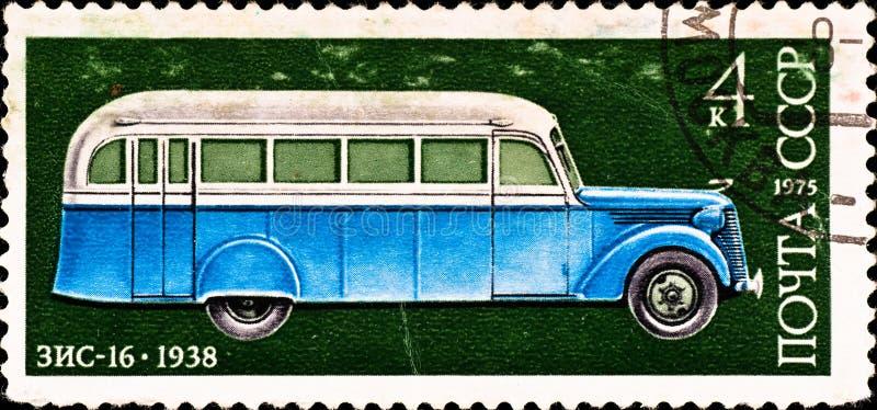 O selo de porte postal mostra o carro do vintage fotografia de stock