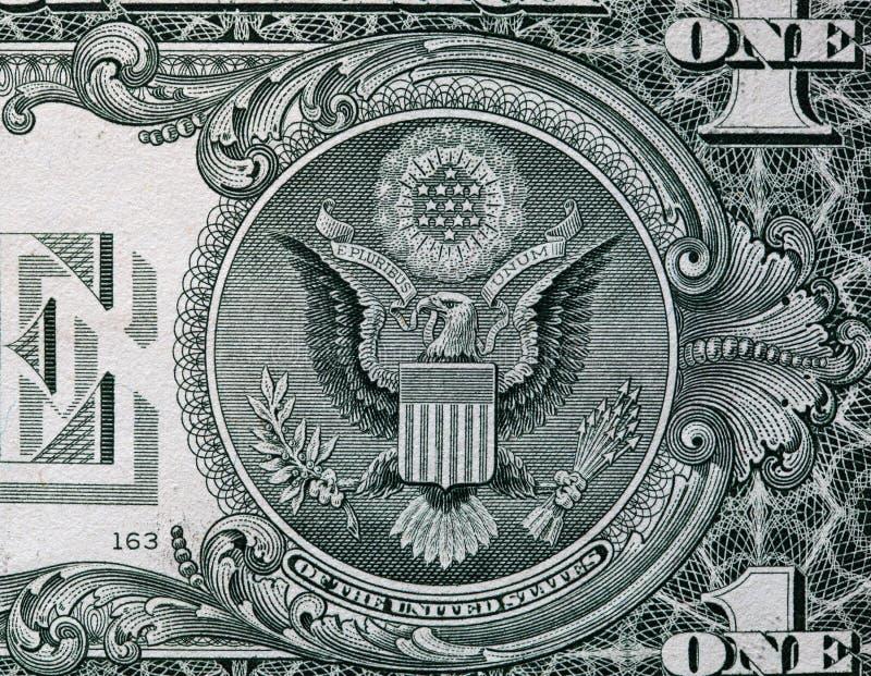 O selo do Estados Unidos no verso de uma nota de dólar americana foto de stock royalty free