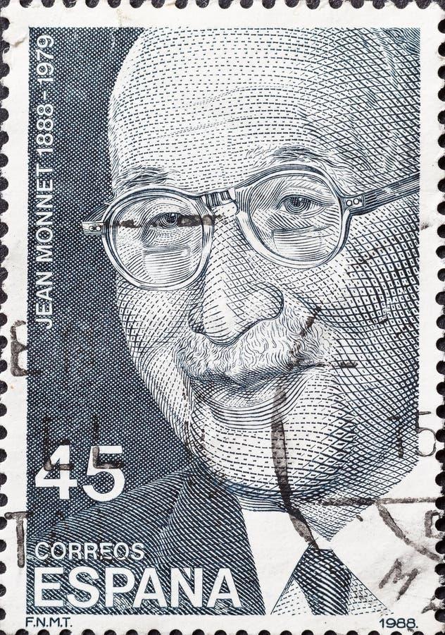O selo do vintage mostra Jean Monnet fotografia de stock