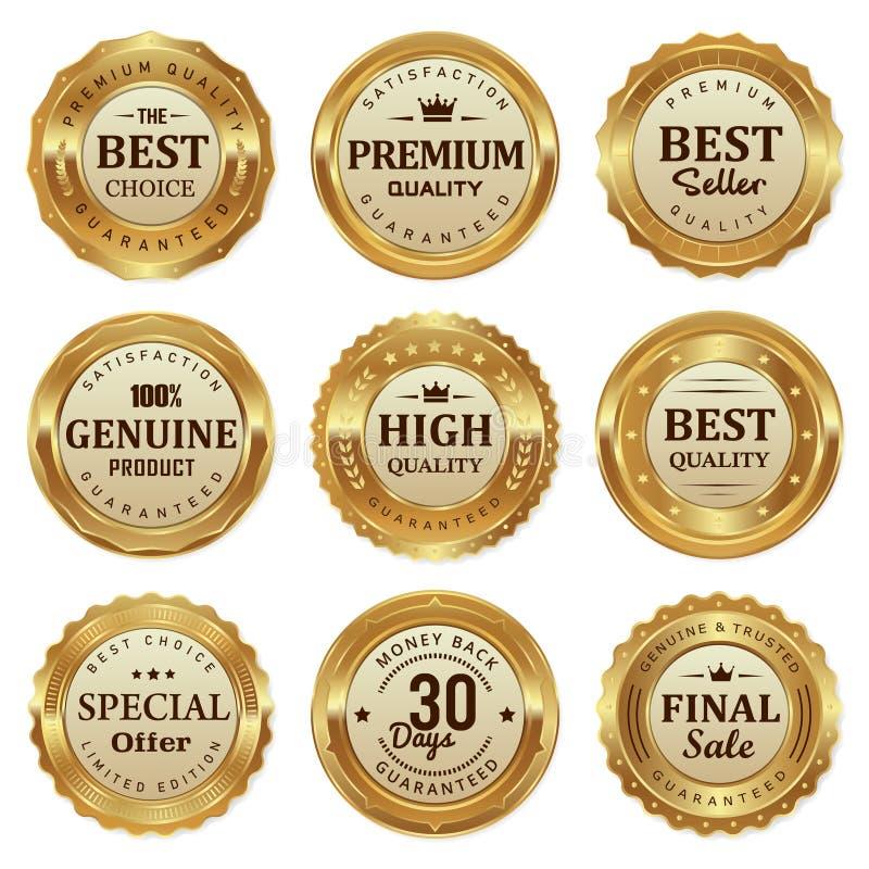 O selo elegante do ouro etiqueta o produto de qualidade ilustração do vetor