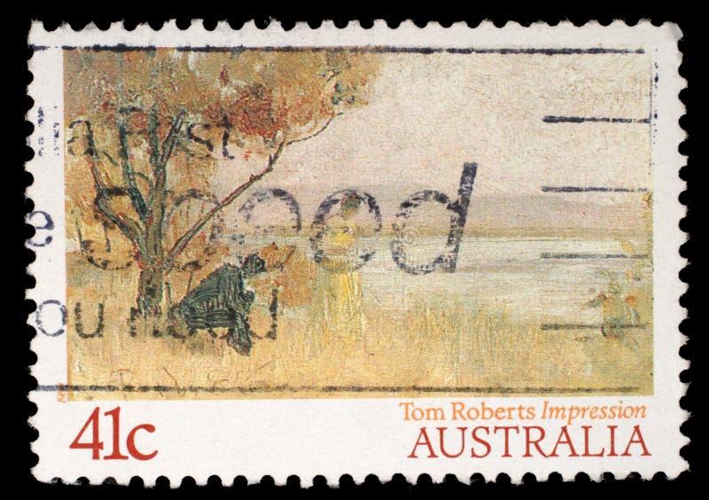 O selo impresso em mostras de Austrália tira pelo ` de Mentone da impressão do ` de Tom Roberts foto de stock